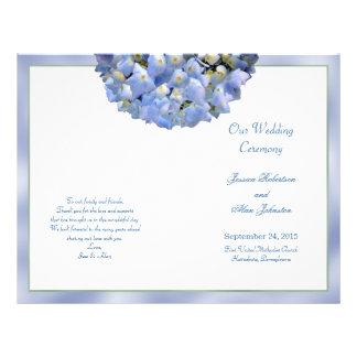 Alpha Hydrangea Folded Wedding Program Template Flyer