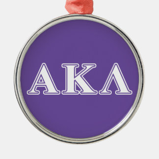 Alpha Kappa Lambda Black Letters Silver-Colored Round Decoration