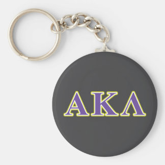 Alpha Kappa Lambda Purple and Yellow Letters Basic Round Button Key Ring