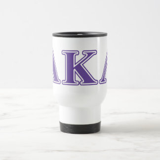 Alpha Kappa Lambda Purple and Yellow Letters Travel Mug