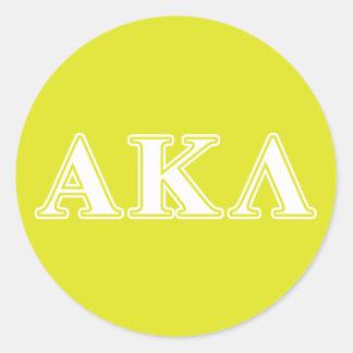 Alpha Kappa Lambda Purple Letters Round Sticker