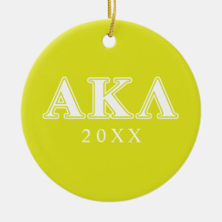 Alpha Kappa Lambda White and Purple Letters Round Ceramic Decoration