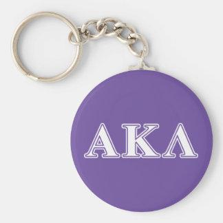 Alpha Kappa Lambda White and Yellow Letters Basic Round Button Key Ring