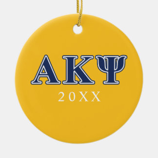 Alpha Kappa Psi Navy Letters Christmas Ornament