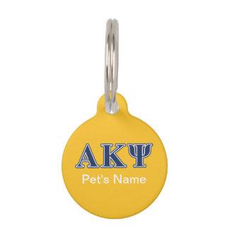 Alpha Kappa Psi Navy Letters Pet ID Tag