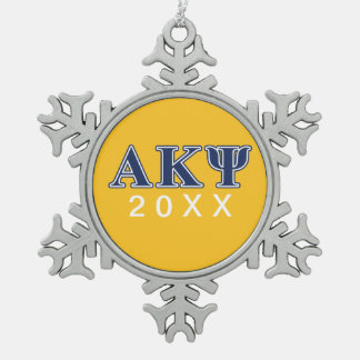Alpha Kappa Psi Navy Letters Snowflake Pewter Christmas Ornament