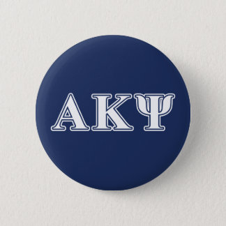 Alpha Kappa Psi White and Navy Letters 6 Cm Round Badge