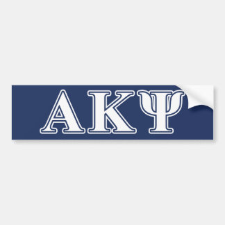 Alpha Kappa Psi White and Navy Letters Bumper Sticker