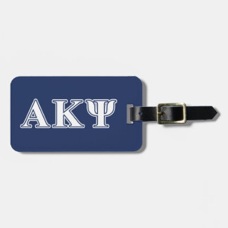 Alpha Kappa Psi White and Navy Letters Luggage Tag