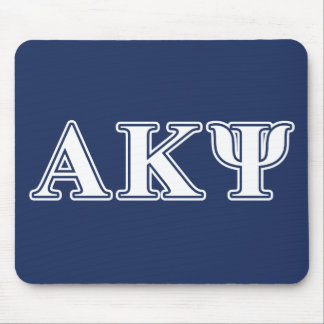 Alpha Kappa Psi White and Navy Letters Mouse Mat