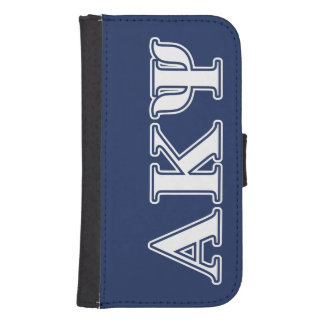 Alpha Kappa Psi White and Navy Letters Samsung S4 Wallet Case
