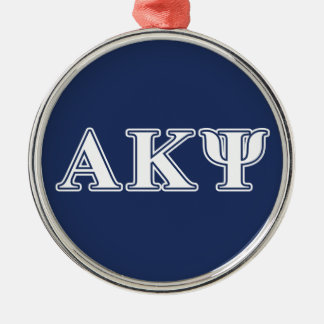 Alpha Kappa Psi White and Navy Letters Silver-Colored Round Decoration