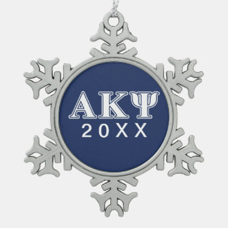 Alpha Kappa Psi White and Navy Letters Snowflake Pewter Christmas Ornament