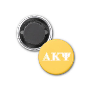 Alpha Kappa Psi White and Yellow Letters 3 Cm Round Magnet