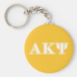 Alpha Kappa Psi White and Yellow Letters Basic Round Button Key Ring