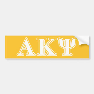 Alpha Kappa Psi White and Yellow Letters Bumper Sticker