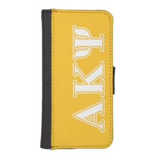 Alpha Kappa Psi White and Yellow Letters iPhone SE/5/5s Wallet Case