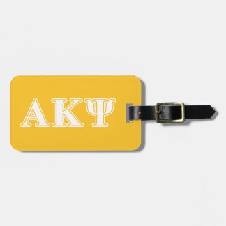 Alpha Kappa Psi White and Yellow Letters Luggage Tag