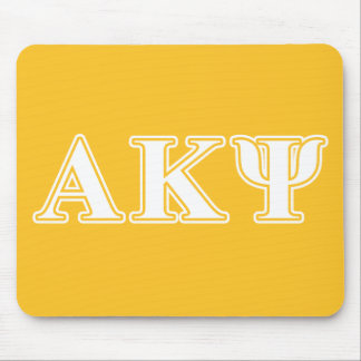 Alpha Kappa Psi White and Yellow Letters Mouse Mat