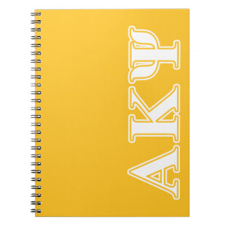 Alpha Kappa Psi White and Yellow Letters Notebooks