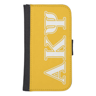 Alpha Kappa Psi White and Yellow Letters Samsung S4 Wallet Case