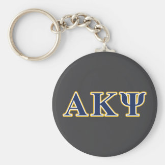 Alpha Kappa Psi Yellow and Navy Letters Basic Round Button Key Ring