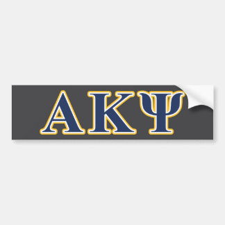 Alpha Kappa Psi Yellow and Navy Letters Bumper Sticker