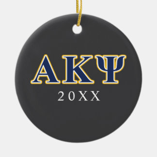 Alpha Kappa Psi Yellow and Navy Letters Christmas Ornament