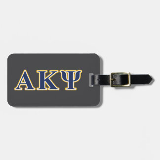 Alpha Kappa Psi Yellow and Navy Letters Luggage Tag