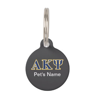 Alpha Kappa Psi Yellow and Navy Letters Pet Tag