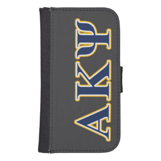 Alpha Kappa Psi Yellow and Navy Letters Samsung S4 Wallet Case