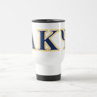 Alpha Kappa Psi Yellow and Navy Letters Travel Mug