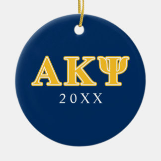 Alpha Kappa Psi Yellow Letters Christmas Ornament