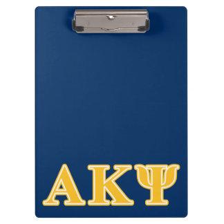 Alpha Kappa Psi Yellow Letters Clipboard
