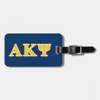 Alpha Kappa Psi Yellow Letters Luggage Tag
