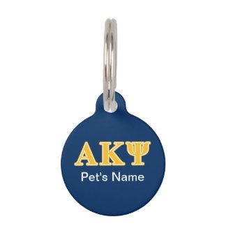 Alpha Kappa Psi Yellow Letters Pet Name Tag