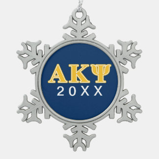 Alpha Kappa Psi Yellow Letters Snowflake Pewter Christmas Ornament