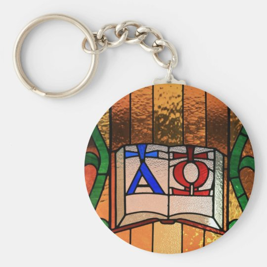 Alpha Omega Book Stained Glass Art Basic Round Button Key Ring