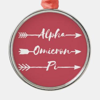 Alpha Omicron Pi Arrow Christmas Ornament
