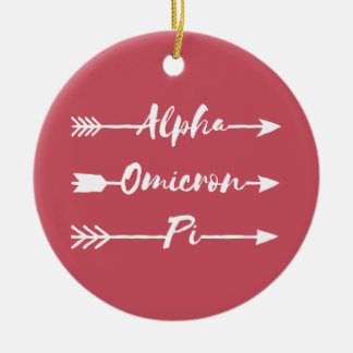 Alpha Omicron Pi Arrow Christmas Ornament