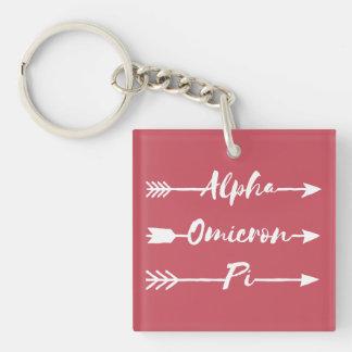 Alpha Omicron Pi Arrow Key Ring