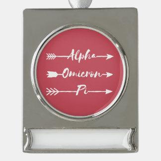 Alpha Omicron Pi Arrow Silver Plated Banner Ornament