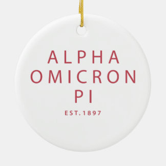 Alpha Omicron Pi Big Script Christmas Ornament