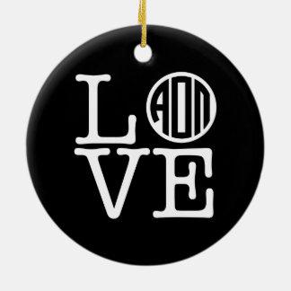 Alpha Omicron Pi Love Christmas Ornament
