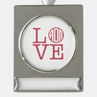 Alpha Omicron Pi Love Silver Plated Banner Ornament