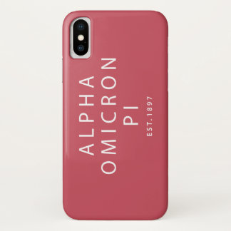 Alpha Omicron Pi Modern Type iPhone X Case