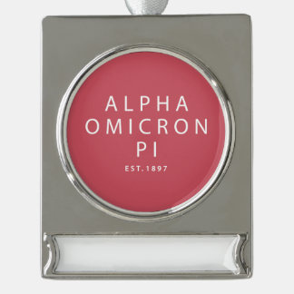 Alpha Omicron Pi Modern Type Silver Plated Banner Ornament