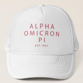 Alpha Omicron Pi Modern Type Trucker Hat