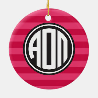 Alpha Omicron Pi | Monogram Stripe Pattern Christmas Ornament