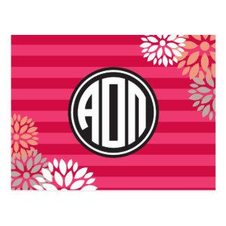 Alpha Omicron Pi | Monogram Stripe Pattern Postcard